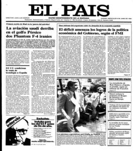Portada de El País del 6 de junio de 1984
