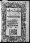 Title page of Pliny's Natural history, with decorative border of dolphins and illustration of St. Michael lancing dragon (From: http://hdl.loc.gov/loc.pnp/cph.3b41344.)