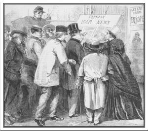 """Reading the war news in Broadway, New York"" published in the London Illustrated News, 15 June 1861 (Beck Center at Emory university)"