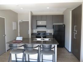 The apartment's kitchen
