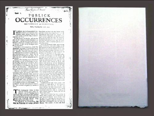 The newspaper Publick Occurrences left its fourth page blank enabling its readers to comment what they read (Openmargin Dialogue)