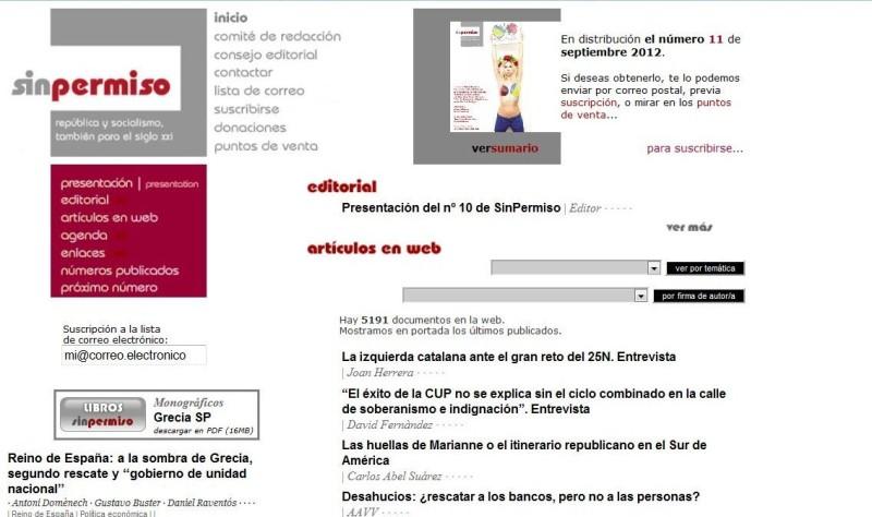 Portada del sitio web Sin Permiso: http://www.sinpermiso.info/