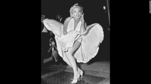 Marilyn Monroe poses over the updraft of New York subway for the filming of