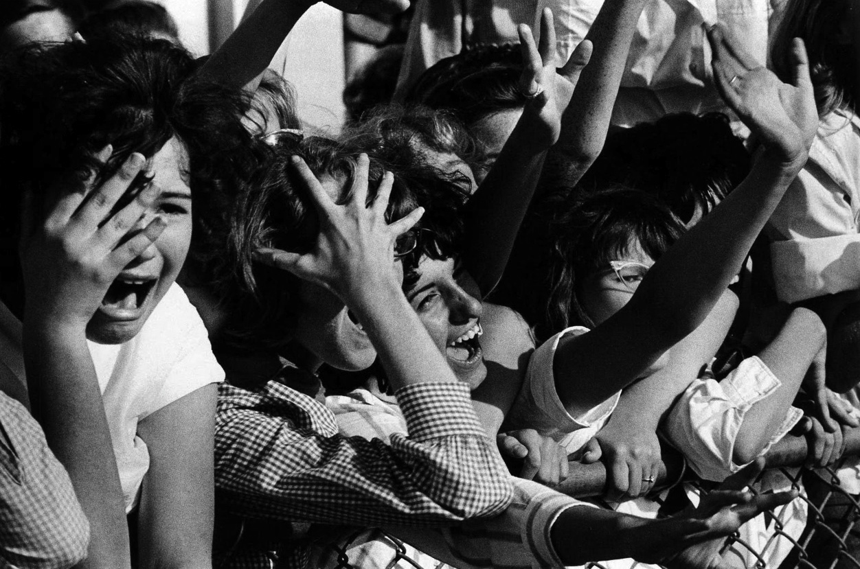 "The ""Beatlemania"", Hysterics fans of the Beatles"